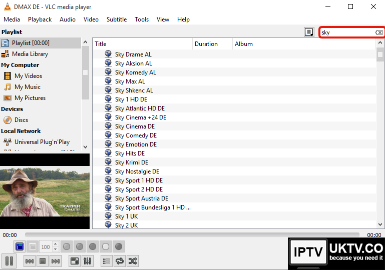 How to set up the vlc media player so that you can watch IPTV from the UK online.